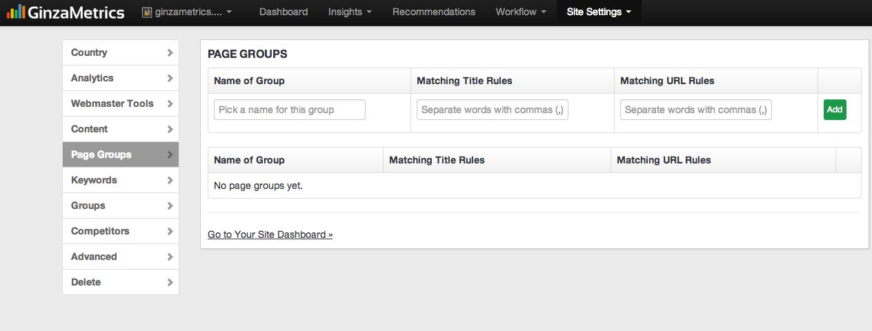 GinzaMetrics Page Groups Setup